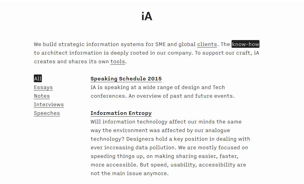 Minimalistisches Webdesign IA