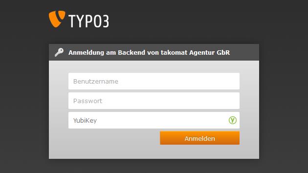 TYPO3 CMS Backend YubiKey